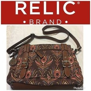 Relic Fossil Crossbody Bag Peacock Feather Canvas